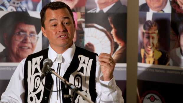 National Chief Shawn Atleo answers questions from the media during a press conference at the 32nd Annual General Assembly of the Assembly of First Nations in Moncton, N.B., on Tuesday, July 12, 2011. (David Smith / THE CANADIAN PRESS)
