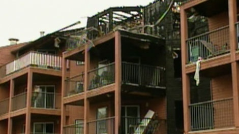 An apartment building in the area of 92 St. and 104 Ave. went up in flames on Tuesday, July 12, 2011.