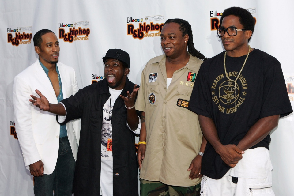 Members of the group A Tribe Called Quest arrive for the 5th annual Billboard R&B Hip-Hop Awards in Atlanta, Friday, Aug. 5, 2005. From left are Ali Shaheed Muhammad, Phife, Jarobi and Q-Tip.