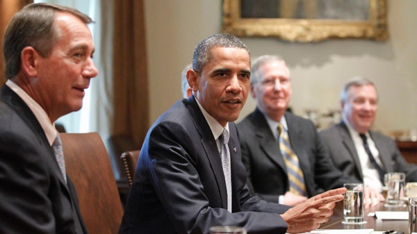 U.S. President Barack Obama meets with Congressional leaders regarding the debt ceiling in the Cabinet Room of the White House in Washington, Wednesday, July 13, 2011. (AP / Charles Dharapak)
