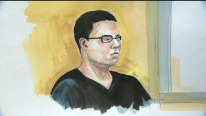 Luka Magnotta is seen in this undated court sketch.