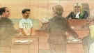 A court sketch shows Senthuran Sabesan, 23, of Waterloo, Ont. in a Brampton, Ont. court on Thursday, July 14, 2011.