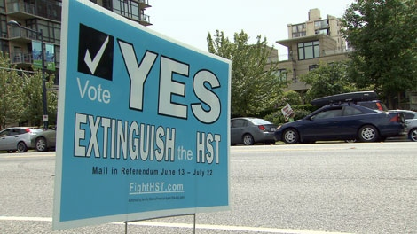 An anti-HST campaign sign is seen in Vancouver in this CTV file image.