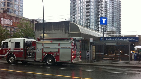 SkyTrain service was disrupted across the board after smoke was discovered billowing out of one of the transit trains at Stadium station on July 14, 2011. (CTV)