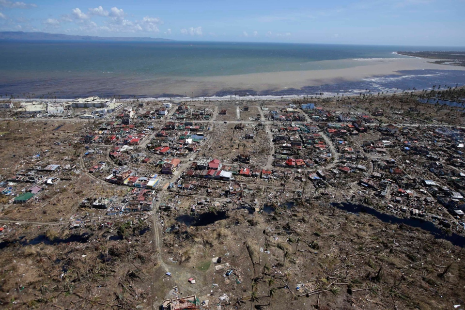 An aerial shot shows the devastation of last week's typhoon which lashed Leyte province in central Philippines, Friday, Nov. 15, 2013. (AP / Bullit Marquez)