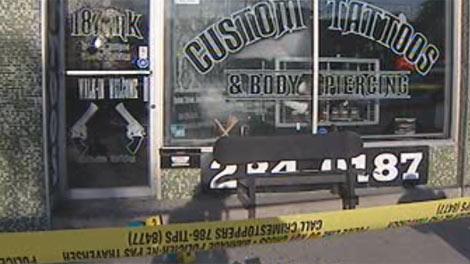 Police were called to the 187 Ink tattoo shop on Osborne Street around 4:30 a.m. Wednesday.