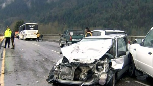 A massive 17-vehicle pileup caused chaos on Hwy. 1 in Chilliwack, B.C. on Friday, Nov. 15, 2013.