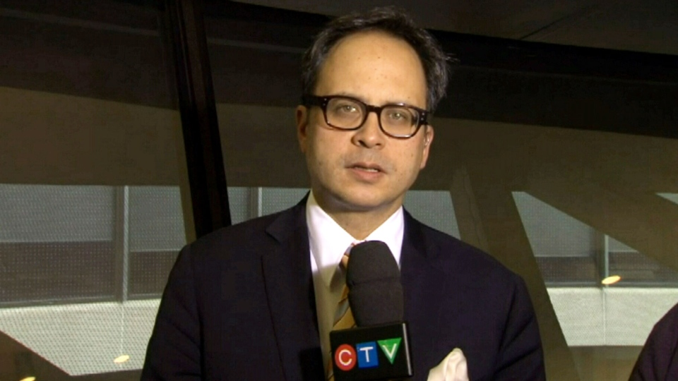Coun. Denzil Minnan-Wong speaks to CTV News Channel while at city hall in Toronto on Friday, Nov. 15, 2013.