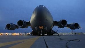 Canadian forces C-17 Globemaster sits on the tarmac at CFB Trenton on Friday Nov. 15, 2013. (Lars Hagberg / THE CANADIAN PRESS)