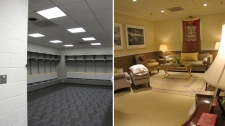 On the left is a locker room used by visiting hockey teams at Verizon Center in Washington, D.C. The right shows the same room after Canadian designer Kevin Fitzsimons transformed it into a lounge area for the Dalai Lama during his trip in July, 2011. (Leigh Paterson / CTV)