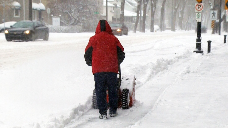 An Alberta resident clears snow on a sidewalk, Saturday, Nov. 16, 2013.