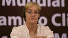 Canadian activist and writer Maude Barlow attends a session of the World People's Conference on Climate Change and the Rights of Mother Earth in Tiquipaya, on the outskirts of Cochabamba, Bolivia, Tuesday, April 20, 2010. Barlow is the national chairperson of The Council of Canadians, a citizens� advocacy organization with members and chapters across Canada. (AP / Juan Karita)