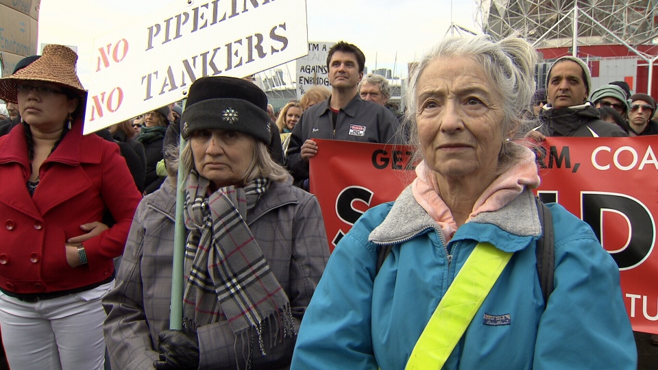 A large crowd of protestors gathered in Vancouver Saturday, Nov. 16 as part of a national day of action against pipeline proposals. (CTV)