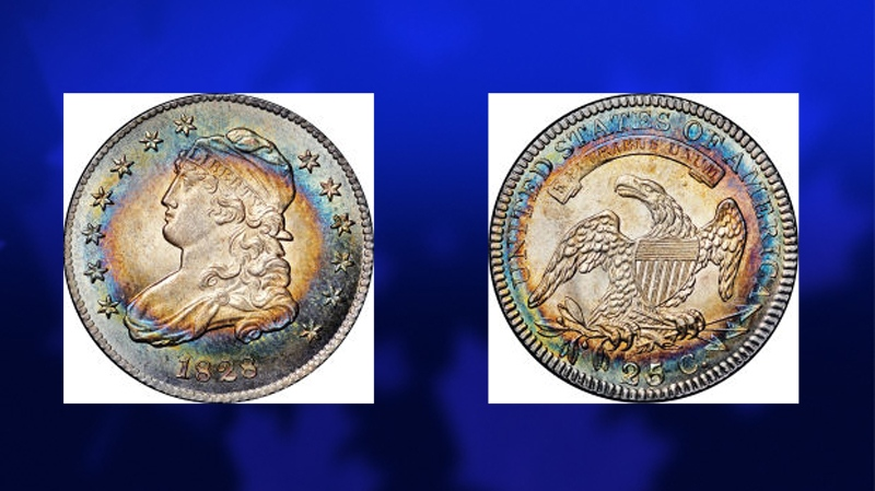 In this photo from Heritage Auctions, a 1828 Quarter Dollar is pictured. The coin was part of retired lawyer Eric P. Newman's collection that sold for $23 million during a two-day auction in New York City on Nov. 17, 2013. (Heritage Auctions)