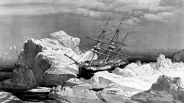 HMS Investigator is shown on the north coast of Baring Island in the Arctic in this 1851 drawing. (National Archives of Canada)