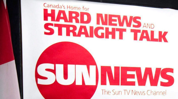 The Sun TV News Channel logo is displayed during a news conference in Toronto, June 15, 2010.