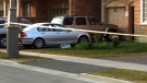 Police investigate after a toddler was struck and killed by a car in Brampton, Ont. on Saturday July 16, 2011. (Kyle Christie / CTV News)