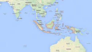 A map of Indonesia is shown in this screengrab from Google Maps. (Screengrab/Google Maps)