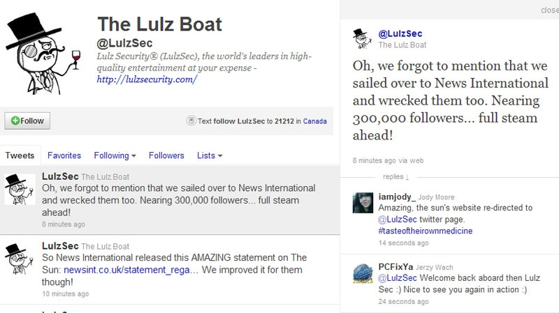 The twitter page of the hacking group Lulz Security on Monday, July 18, 2011.