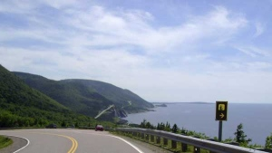 This July 13, 2010 photo shows the road along the eastern edge of Cape Breton Island in Nova Scotia.