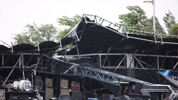 The main stage at Ottawa Bluesfest is shown after it collapsed in Ottawa, Ontario on Sunday July 17, 2011. (Leon Switzer / THE CANADIAN PRESS)
