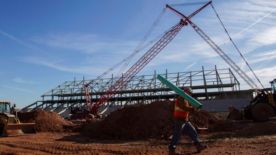 Construction continues at the site of the CIBC Hamilton Pan Am Soccer Stadium in Hamilton, Ont., Thursday, Nov. 14, 2013. (Aaron Lynett / THE CANADIAN PRESS)