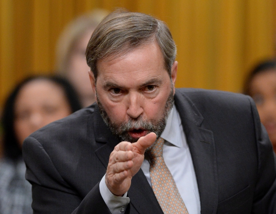 NDP Leader Tom Mulcair asks a question during question period in the House of Commons on Parliament Hill in Ottawa on Wednesday, Nov. 20, 2013. (Sean Kilpatrick  / THE CANADIAN PRESS)