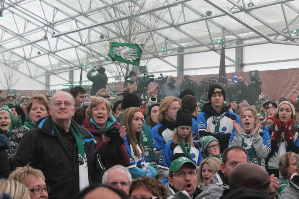 Hundreds of Rider fans packed into the Mosaic Underground Tent for the opening ceremonies for the 101st Grey Cup in Regina on Wednesday.