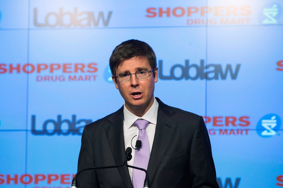 Galen Weston Jr., executive chairman of Loblaw, speaks at a press conference in Toronto, Monday, July 15, 2013. (Michelle Siu / THE CANADIAN PRESS)