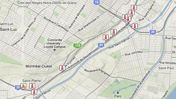 Turcot closures in effect for overnight construction   CTV News on belgium highway map, seattle highway map, portland highway map, france highway map, japan highway map, england highway map, italy highway map, miami highway map, appalachian mountains highway map, cincinnati highway map, north america highway map, new zealand highway map, romania highway map, portugal highway map, cape breton island highway map, paris highway map, delaware highway map, houston highway map, nashville highway map, bc highway map,