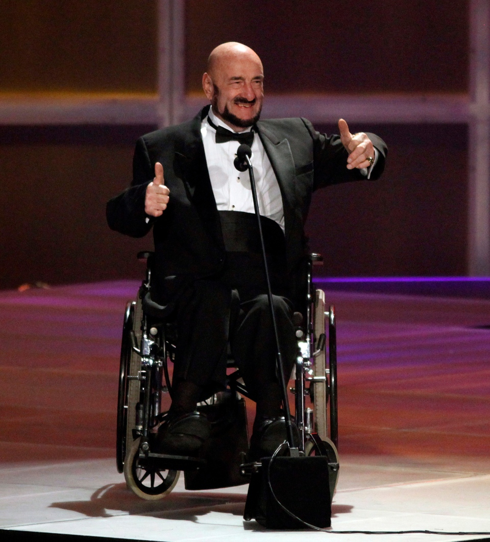 """Maurice """"Mad Dog"""" Vachon accepts his induction into the 2010 WWE Hall of Fame Induction Ceremony on Saturday, March 27, 2010, in Phoenix, AZ. Vachon, the tough-talking and colourful wrestler with the trademark gravelly voice, has died at the age of 84. THE CANADIAN PRESS/Rick Scuteri/AP Images for WWE"""