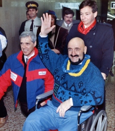 Maurice (Mad Dog) Vachon waves to well wishers as