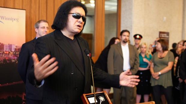 Gene Simmons speaks at Winnipeg's city hall after receiving the Key To The City from deputy mayor Gord Steeves Wednesday, June 15, 2011. (John Woods / THE CANADIAN PRESS)