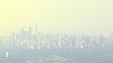 A thick haze is visible over Toronto from the CTV News helicopter, Wednesday, July 20, 2011.  The City of Toronto issued an extreme heat alert Wednesday morning, urging residents to seek shelter in cool, air conditioned places.