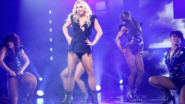 In this Thursday, June 16, 2011 publicity image released by Britney Spears Femme Fatale Tour, Britney Spears performs in Sacramento, Calif. (AP / Britney Spears Femme Fatale Tour, Roderick Trestrail II)