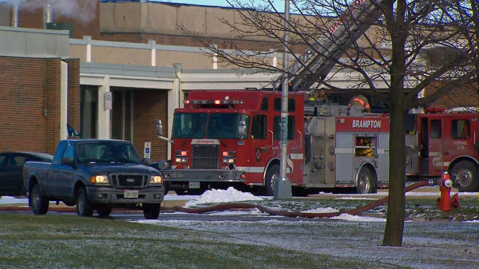 Crews respond to a fire at Bramalea Secondary School in Brampton.