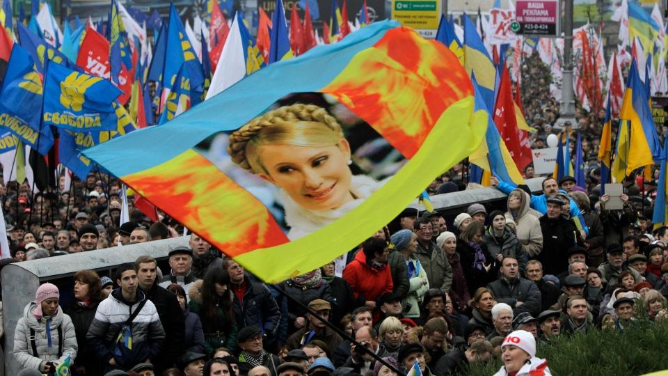 Demonstrators hold up a flag with the face of jailed former Ukrainian Prime Minister Yulia Tymoshenko during a protest in Kiev, Ukraine, Sunday, Nov. 24, 2013. (AP / Sergei Chuzavkov)