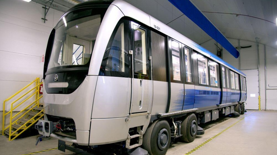 The first of the Azur metro cars built at a Bombardier plant in La Pocatiere, Quebec (Photo courtesy Bombardier-Alstom, Nov. 25, 2013)