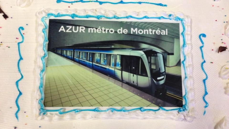 The first Azur train was celebrated with a cake in La Pocatiere (CTV Montreal/Max Harrold)