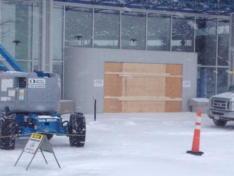 The entrance to the Bruce Power Visitor's Centre is seen boarded up Monday, Nov. 15, 2013 after a collision on Friday. (Scott Miller / CTV London)