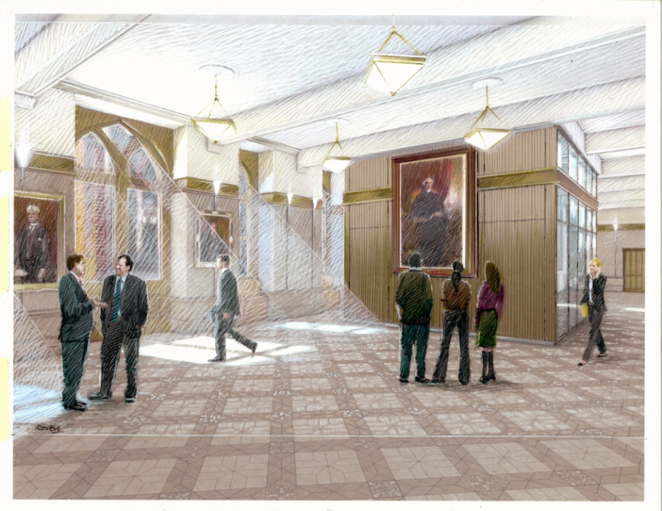 "An area for journalists to ""scrum"" Parliamentarians is seen in the artist's rendering of Parliament Hill's West Block."