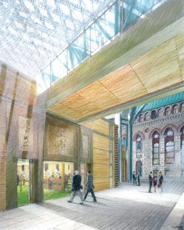 The foyer of the temporary House of Commons chamber in the West Block is seen in this artist's rendering.