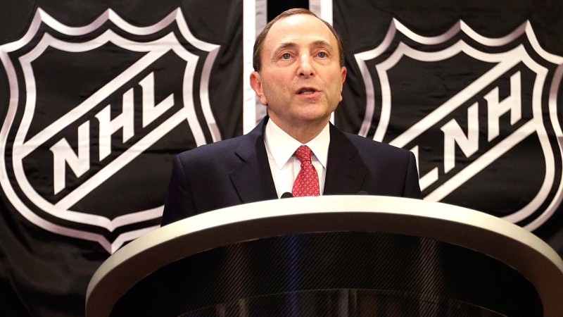 NHL Commissioner Gary Bettman speaks during a news conference, Wednesday, Jan. 9, 2013, in New York. The NHL says it has reached a 12-year, $5.2-billion agreement with Rogers for the league's broadcast and multimedia rights.  (AP / Frank Franklin II)