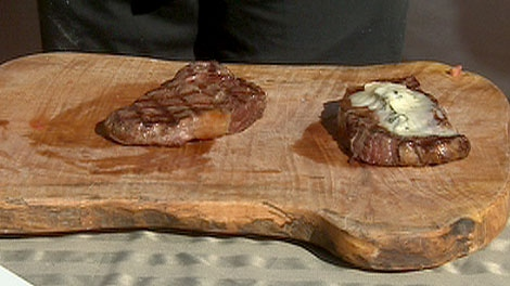 Chef Norm Strim cooks up Grilled Sezmu Ribeye steak with Gorgonzola, Madagascar green peppercorns and Nonna Pia�s Balsamic Reduction.