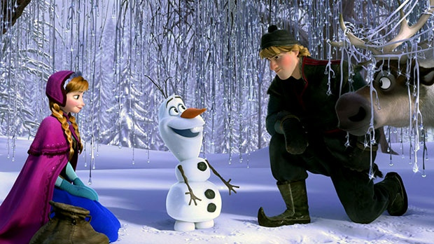 From left, Anna, voiced by Kristen Bell, Olaf, voiced by Josh Gad, and Kristoff, voiced by Jonathan Groff in a scene from Walt Disney Pictures' 'Frozen'
