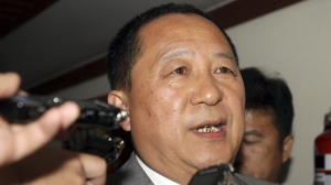North Korea's top nuclear negotiator Ri Yong Ho talks to reporters after his meeting with his South Korea counterpart Wi Sung-lac in Nusa Dua, Bali, Indonesia on Friday, July 22, 2011. (AP / Firdia Lisnawati)