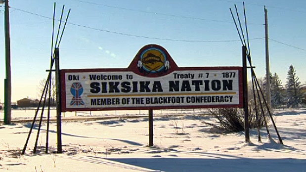 Siksika Nation community sign is seen in this undated image.