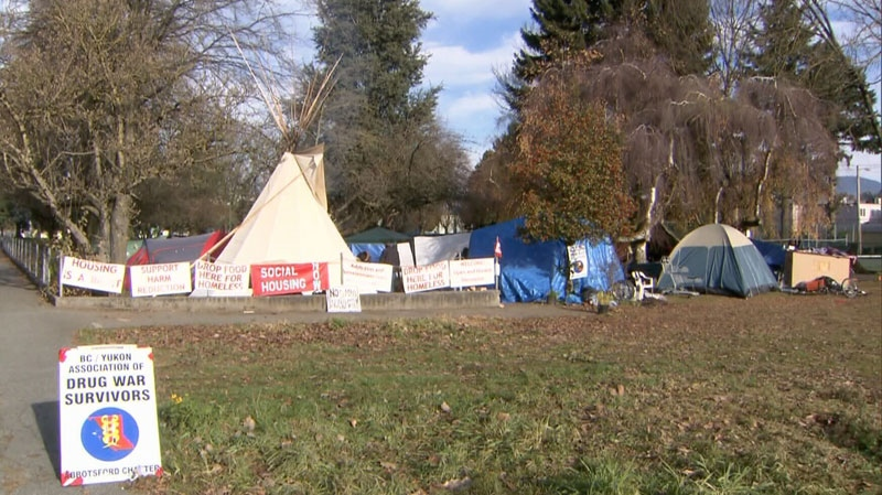 Jubilee Park in Abbotsford has been occupied by a homeless protest camp since late-October. Nov. 26, 2013. (CTV)