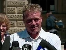 Anthony Hanemaayer speaks with reporters after being exonerated outside the Ontario Court of Appeal in Toronto on Wednesday, June 28, 2008.