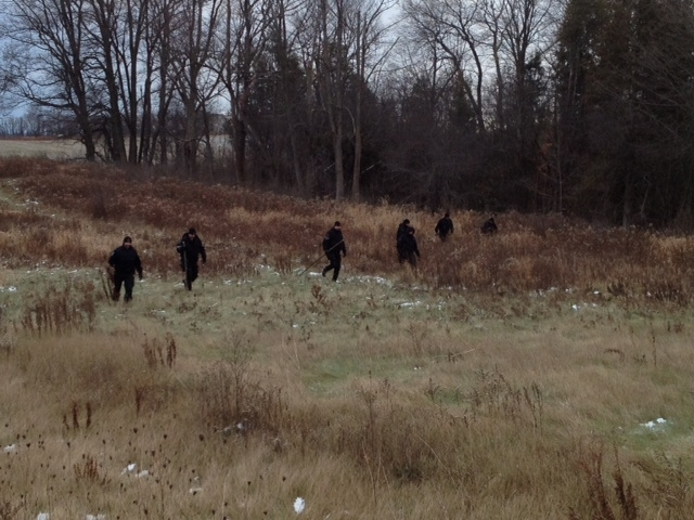 Police search for a man near Breslau, Ont., on Wednesday, Nov. 27, 2013. (Kevin Doerr / CTV Kitchener)